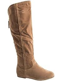 Elara Damen Stiefel | Warm Gefüttert | Bequeme Langschaft Boots | Flache Zipper