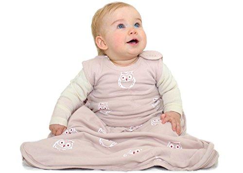 Merino Kids Schlafsack aus Baumwolle, Eule für Babys, 0-2 Jahre, Hell-Pink