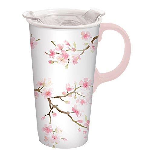 Cypress Home CHERRY BLOSSOM Keramik Reise Kaffee Tasse Mit Geschenk-Box, 17Unzen