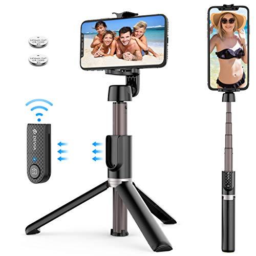 Romanda Selfie Stick Selfiestick Selfie Stange Stab Wireless Selfiestick mit Stativ und Abnehmbarer Bluetooth Fernbedienung 360° Rotation mit 2 Akku für alle Bluetooth Smartphones