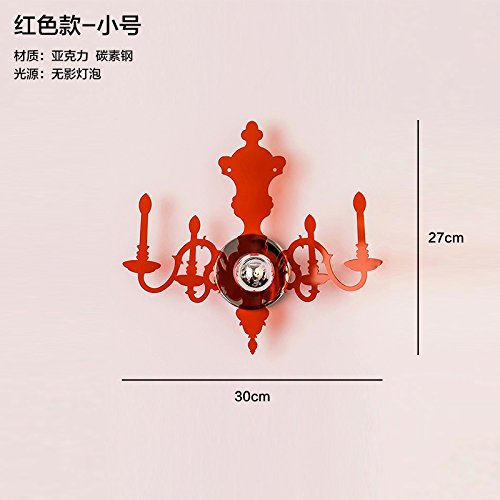 Ggrxa lampade da parete a parete di antiquariato lampade nel soggiorno, luce scale letto camera da letto creative candela acrilico lampada da parete, rosso piccolo
