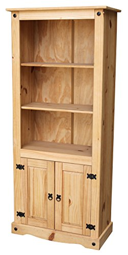 Bücherregal Bücherschrank Pinie massiv mit zwei Türen (Tür Bücherregal 2)