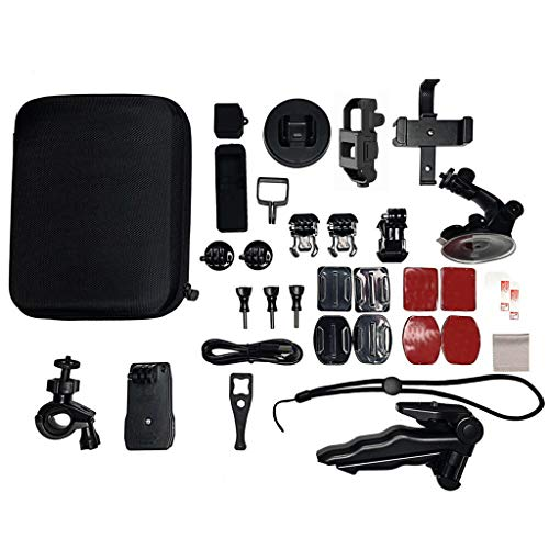 für DJI OSMO Pocket Case Zubehör Schockschützende Hülle Shell Cover Case Schwarz Halterung Bundle Kamera Outdoor Sports Set Kit 33-in-1 mit Ladekabel,Displayschutzfolie Fahrradständer (B) Kamera Premium Kit
