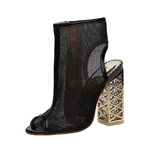 Damen Sandalen mit hohem Absatz, Peep-Toe-Reißverschluss-Seitensandalen, atmungsaktives Mesh-Block mit hohem Blockabsatz, Mode-High-Top-High-Heels-Schuhe Ankle Boots
