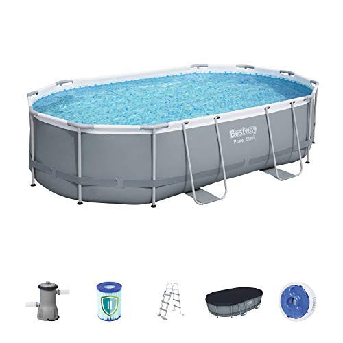Bestway Power Steel Frame Pool Set, oval, grau, 488 x 305 x 107 cm