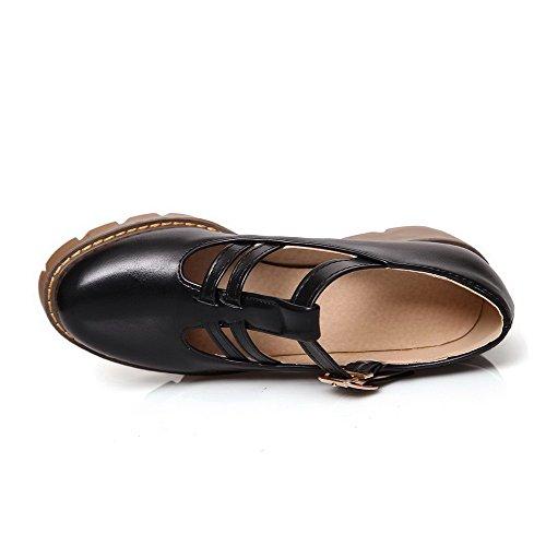 AgooLar Femme à Talon Correct Couleur Unie Boucle Rond Chaussures Légeres Noir
