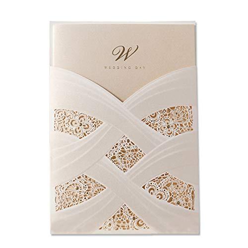 Wishmade 50X Einladungskarten Für Hochzeit Vertikal Elfenbein Spitze Lasercut Design Schutzhülle Bronzing 50 Stücke inkl Umschläge für Geburtstag Party Favors Quinceanera CW060