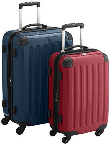 HAUPTSTADTKOFFER - Alex - 2er Koffer-Set Hartschale glänzend, TSA, 65 cm + 55 cm, 74 Liter + 42 Liter, Orange-Aubergine Waldgrün-Rot