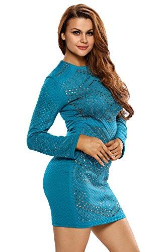 La vogue Langarm Kleider Bodycon Cocktaikleid Partykleid Abend Blau