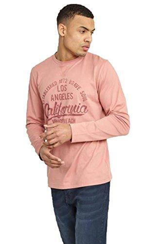 Bave Soul Herren Blusen Langarmshirt, Einfarbig rosa rose Small Winter Pink