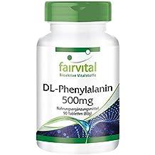 DL-Fenilalanina 500mg - A VEGANO - Altamente dosificado - 90 comprimidos - DLPA -