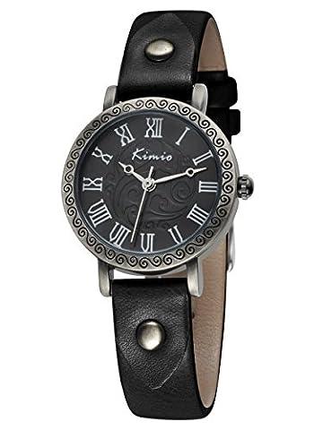 Alienwork Quarz Armbanduhr vintage Quarzuhr Uhr Armreif Kette wickeln Punk Niet schwarz Leder