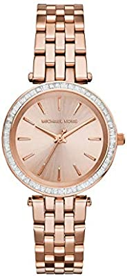 Michael Kors Mini Darci Women's Rose Gold Dial Stainless Steel Band Watch - MK