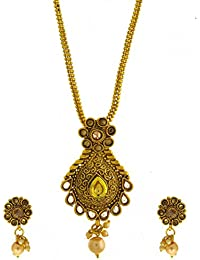Anuradha Art Gold Finish Studded With Peach Colour Stones And Pearl Beads Traditional Pendant Set For Women/Girls