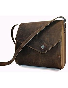 edle Handtasche von Nussbag, Modell Woody Nussholz Echtleder schlammfarben