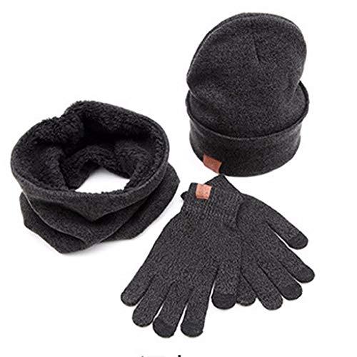 VJGOAL Männer Caps, 1 Sätze Hut + Schal + Screen Handschuhe Set Mann Solide Herbstliche Winter Warme Weiche Strickmütze Weihnachten Geburtstagsgeschenke