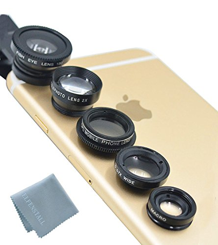 Elfenstall 5 in 1 Clip-On Kamera Adapter Optische Weitwinkelobjektiv FishEye Fischauge Objektiv Linse & Micro Objektiv Linsen - Fischaugenobjektiv + Weitwinkel + Mikroobjektiv + 2X EXT Barlow + CPL Polfilter für ihr Smartphone Handy oder Tablet - Universal Linsen Clip in der Farbe (schwarz)