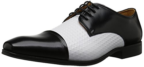 Stacy Adams Men's Forte Cap Toe Oxford, Black/White, 14 M US