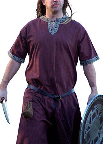 16. Jahrhundert Männer-kleidung (Mittelalterliche Tunika kurzarm, dunkelbraun von Battle-Merchant - LARP Wikinger Mittelalter Größe L)