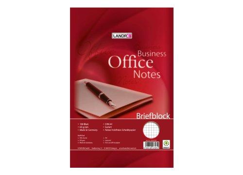LANDRE 100050253 Briefblock Office 5er Pack A4 100 Blatt kariert 60 g/m² 4fach gelocht Schreibblock Briefblöcke Briefpapier