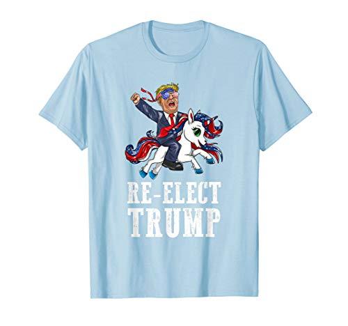 Re-Elect Trump amerikanische Sonnenbrille Einhorn-lustiges  T-Shirt