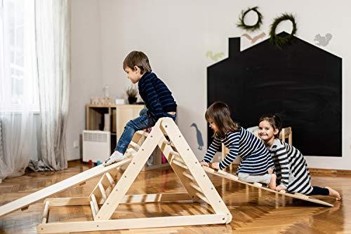 Triangolo pikler, triangolo a gradini, scala rampicante per bambino, triangolo per bambini, Puoi scegliere senza o con una o due rampe nelle opzioni