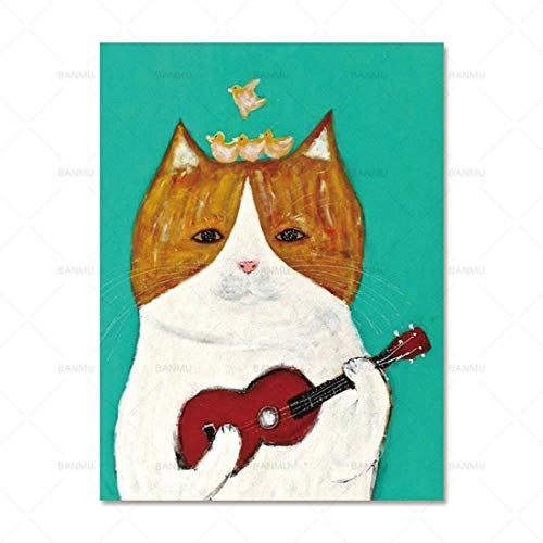 FENGJIAREN High Definition Printing Posters and Prints Art Cartoon Animal Guitar Cat Decoration Canvas Painting for Living Room Home Decor No Frame,80Cm×120Cm