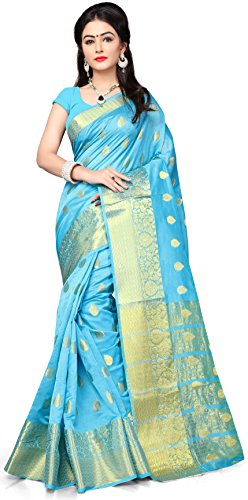 Indian Fashionista Women's Banarasi Silk Saree With Blouse Piece(Sky Blue ,Free Size)