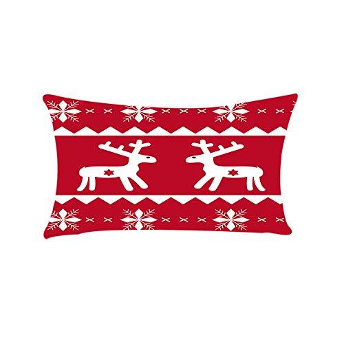Riou Kissenbezuge Weihnachten Kissenhülle Dekokissen Fall Throw Pillow Covers Bettwäsche Für Autos Sofakissen Startseite Dekorative Weihnachten Rechteck Baumwolle Linter Kissenbezüge (Rot B, 30x50cm)