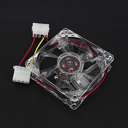 Bewinner 80 mm PC-Gehäuselüfter Crystal-Frame-Blades mit Vier blauen LEDs, Hülsenlager, 4-Pin-LED-Licht CPU-Computer-Kühlgehäuselüfter mit 1300 U/min Geschwindigkeit Standard-Gehäusekühler