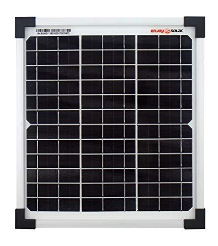 enjoysolar® Monokristallin 10Watt 12V Solarmodul Solarpanel Mono 10W ideal für Garten Wohnmobil Caravan