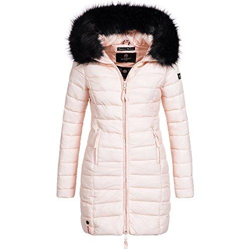 Marikoo ROSE-110 Damen Mantel Jacke Steppjacke Winterjacke lang gesteppt Übergang XS-XXL, Größe:L / 40;Farbe:Rosa