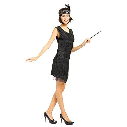 Anladia 20er Jahre Fransen Charleston Kleid Damen Kostüm Flapperkleid Tanzclub Bälle Party Abendkleid, M, Schwarz (Kleid 20er Schwarz Jahre)