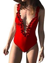 Mymyguoe Damen Blumendruck Badeanzug Push Up Monokini Rückenfrei Tiefer  V-Ausschnitt Bikini Einteiler Schlankheits Bandage d8d6c96a43
