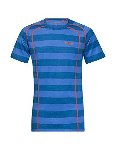 Bergans Herren T-Shirt Fjellrapp Blau Gestreift