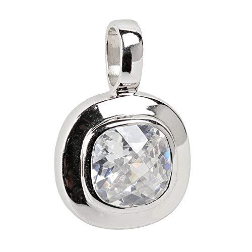 Schmuckboerse24 ciondolo da donna a forma di cuore, in argento sterling 925 con zirconi bianchi taglio a cuscino