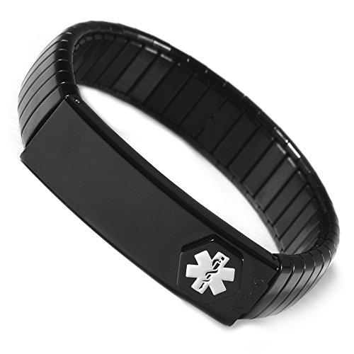 YINOX Medical Alert Armband für Männer Damen ID Armreif Elastic Edelstahl Armband personalisiert(6.7/7.1/7.5'')(Silber & Gold) (Black, 19) (Alert Medical)