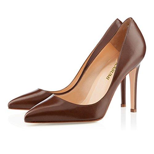 EDEFS Femmes Artisan Fashion Escarpins Délicats Classiques Elégants Pointus Des Couleurs Chaussures à talon de 100mm Orange Chocolat