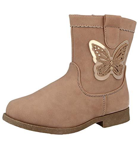 Buckle My Shoe Girls Kids Infant Faux Leather 3D Butterfly Glitter Flat Zip Biker Chelsea Winter Ankle Boots Size 7-2