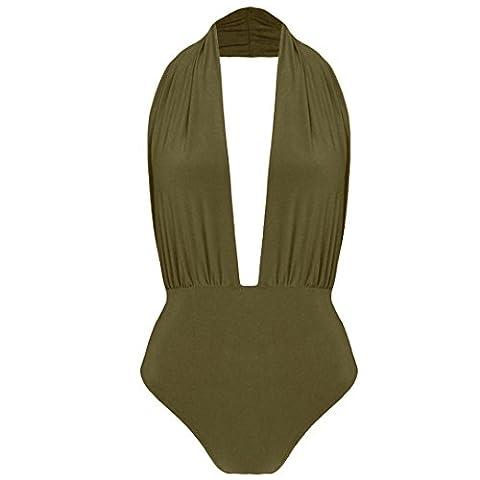 New Halterneck Plunge Neck Slinky Backless Bodysuit Leotard Bodycon Stretch Top Khaki UK 8