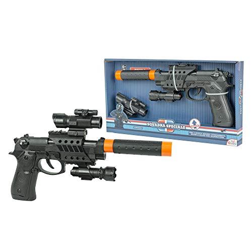 Media Wave Store - Pistola Giocattolo Pk3 per Bambini 101276 con luci, Suoni e silenziatore