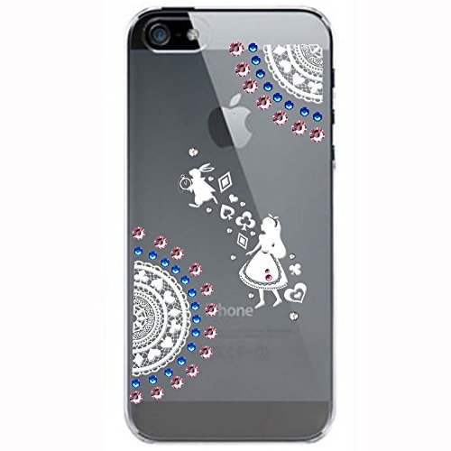 Alice in Wonderland that point deco luxuriously Swarovski iPhone5 Case-based real clear (white) Design Case (japan import)