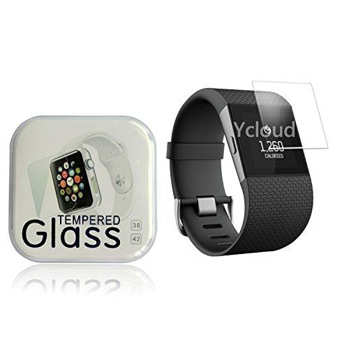 Ycloud Panzerglas Folie Schutzfolie Bildschirmschutzfolie für Fitbit Surge Smart Watch screen protector mit Härtegrad 9H, 0,26mm Ultra-Dünn, Abger&ete Kanten