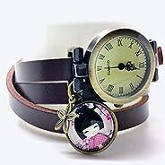 Orologio multi-fila cabochon cuoio- brown - Giappone - Regalo di Natale per idea regalo moglie - San Valentino