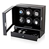 Enrollador de Reloj automático, Caja de Almacenamiento de Madera con enrollador de 6 Relojes y Pantalla táctil LCD