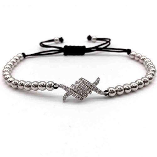 Imagen de jyhw hot fashion pave cz pulsera mujer 4 mm perlas de cobre pulsera mujeres trenzado macrame pulsera ajustable para las mujeres joyería,1
