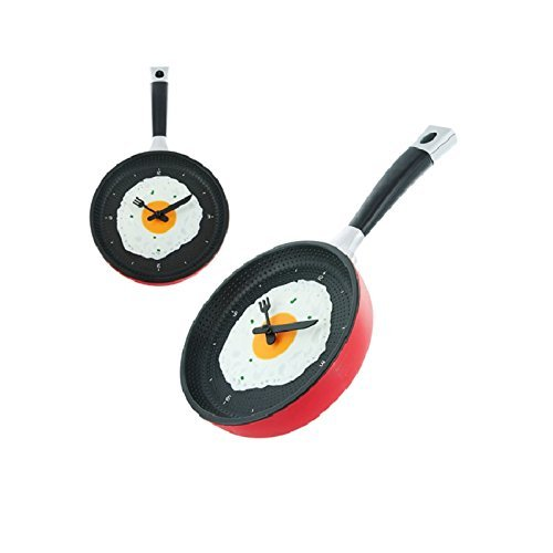 RIANZ Frying Pan Clock Fried Egg Design Wall Clock Decor Egg Pan...