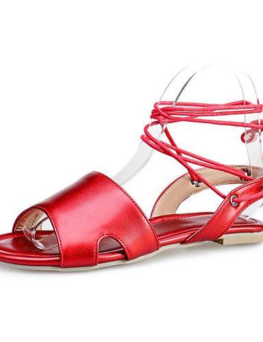 LFNLYX Chaussures Femme-Décontracté-Bleu / Rose / Rouge / Blanc-Talon Plat-Tongs-Mocassins-Synthétique / Similicuir Red