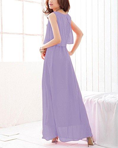 Robe de Soirée Femme Col Rond Sans Manches en Mousseline de Soie Maxi Robe Longue Violet Clair