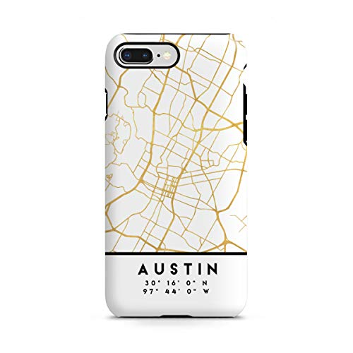 artboxONE Apple iPhone 8 Plus Tough-Case Handyhülle Austin Texas Street MAP Art von Emiliano Deificus -